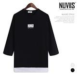 [뉴비스] NUVIIS - 런던 슬라브 레이어드 나그랑 7부 티셔츠 (RT181TS)