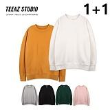 [티아즈] [1+1] TEEAZ - 무지 오버핏 3단쭈리 맨투맨