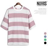 [뉴비스] NUVIIS - 사선 골지 단가라 반팔티셔츠 (LS027TS)