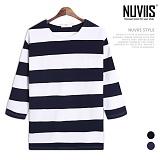 [뉴비스] NUVIIS - 스트라이프 보트넥 7부 티셔츠 (RT197TS)