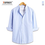 [탑보이] TOPBOY - 핀 스트라이프 차이나 7부셔츠 (DL500)