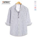 [탑보이] TOPBOY - 스트라이프 차이나 7부셔츠 (DL499)