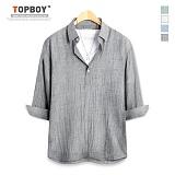 [탑보이] TOPBOY - 플레인 버튼 7부셔츠 (ZT122)