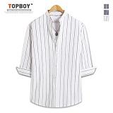 [탑보이] TOPBOY - 스트라이프 차이나넥 7부셔츠 (ZT129)