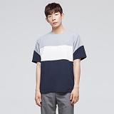 [모니즈] 삼단 배색 반팔 티셔츠 (3color) TSB022