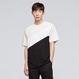 [모니즈] 사선 배색 반팔 티셔츠 (4color) TSB021
