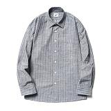 [파르티멘토]Ticking Stripe Shirts Dark Gray 스트라이프셔츠