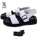 [에이벨류] 남성 모던 레더 마틴 샌들(블랙.화이트)684-710 남자 여름 신발 슬리퍼