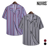 [뉴비스] NUVIIS - 모던 스트라이프 오버핏 반팔셔츠 (RG036SH)