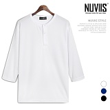 [뉴비스] NUVIIS - 쿠션지 헨리넥 7부 티셔츠 (SM029TS)