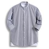 [젠블랙] zenblack - 실줄 스트라이프 헨리넥 7부셔츠 ZSH030