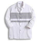 [젠블랙] zenblack - 스트라이프 포인트 나염 셔츠 ZSH012