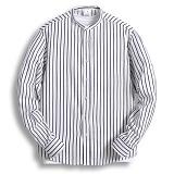 [젠블랙] zenblack - 스트라이프 헨리넥 롤업 셔츠 ZSH007