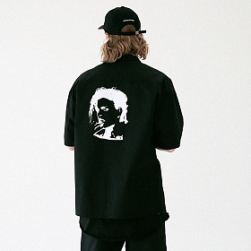 [매스노운]MASSNOUN 화이트 아웃 셔츠 MUVST001-BK 반팔셔츠 남방