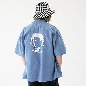 [매스노운]MASSNOUN 화이트 아웃 하와이안 셔츠 MUVST001-BL 반팔셔츠 남방