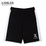 [엠블러]AMBLER 신상 트레이닝 5부반바지 ASP105-블랙 사이드 라인 레터링 팬츠 반바지 바지