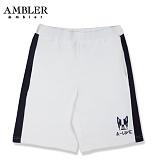 [엠블러]AMBLER 신상 트레이닝 5부반바지 ASP105-화이트 사이드 라인 레터링  팬츠 반바지 바지