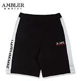 [엠블러]AMBLER 신상 트레이닝 5부반바지 ASP106-블랙 사이드 라인 레터링 팬츠 반바지 바지