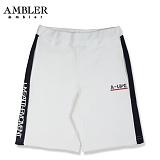 [엠블러]AMBLER 신상 트레이닝 5부반바지 ASP106-화이트 사이드 라인 레터링 팬츠 반바지 바지