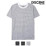 디씬 - 얇은 스트라이프 반팔 티셔츠 - 3COLOR