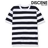 디씬 - 굵은 스트라이프 반팔 티셔츠 -네이비