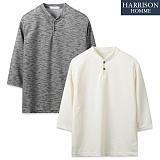 [해리슨] 트윌 슬라브 7부 헨리넥 티셔츠 RTW1257