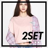 [프로젝트624]PROJECT624 [1+1] 데일리 오버핏 자수 크롭 티셔츠 (4color) 반팔티