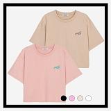 [프로젝트624]PROJECT624 [WOMEN] 데일리 오버핏 자수 크롭 티셔츠 모음 (4color) 반팔티
