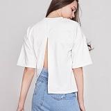 [프로젝트624]PROJECT624 [WOMEN] 백 오픈 라운드 티셔츠 (White) 반팔티