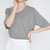 [프로젝트624]PROJECT624 [WOMEN] 데일리 오버핏 모달 유넥 티셔츠 (웜그레이) 반팔티