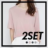 [프로젝트624]PROJECT624 [1+1] 데일리 오버핏 모달 유넥 티셔츠 (5color) 반팔티
