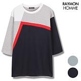 [레이먼옴므] 4단배색 절개 포인트 7부티셔츠 RH2102CS