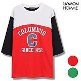 [레이먼옴므] 콜럼버스나염 7부티셔츠 RH2107CS