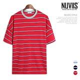 뉴비스 - 삼선 단가라 컬러 오버핏 반팔 티셔츠 (NB195TS)