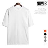 뉴비스 - 무지 절개 컬러 오버핏 반팔 티셔츠 (NB190TS)