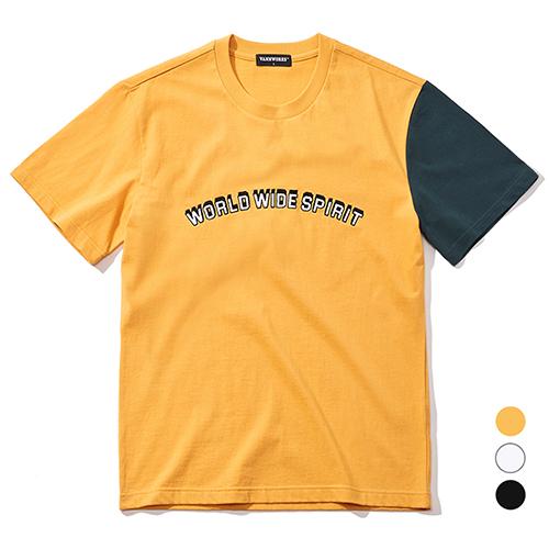 밴웍스 한소매 배색 티셔츠 (VNAGTS114) 자수 반팔티