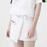[비에이블투]BABLETWO Ring Belt Unbalance Denim Skirt (WHITE) 데님 스커트 치마