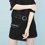 [비에이블투]BABLETWO Ring Belt Unbalance Denim Skirt (BLACK) 데님 스커트 치마