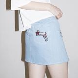 [비에이블투]BABLETWO Ring Belt Unbalance Denim Skirt (BLUE) 데님 스커트 치마