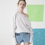 [비에이블투]BABLETWO Boat Neck Stripe Shirts (WHITE) 넥 스트라이프 셔츠