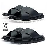 [에이벨류] 남성 샤크솔 모던 키높이 레더 슬리퍼(블랙.화이트)726-아킬 남자 여름 신발 pu