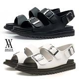 [에이벨류] 남성 샤크솔 키높이 레더 샌들(블랙.화이트)740-테세우스 남자 여름 신발