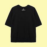 [superlative] 슈퍼레이티브 - [S] 루즈핏 무지 5부 쭈리 반팔 맨투맨 - 반팔 티셔츠 - 블랙