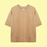 [superlative] 슈퍼레이티브 - [S] 루즈핏 무지 5부 쭈리 반팔 맨투맨 - 반팔 티셔츠 - 베이지