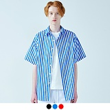 [어커버]ACOVER - BENGAL STRIPE HALF SHIRTS 벵갈 스트라이프 하프 반팔 셔츠