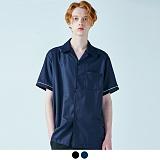 [어커버]ACOVER - PAJAMAS WHITE LINE HALF SHIRTS 파자마 화이트 라인 하프 반팔 셔츠 남방