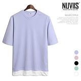 뉴비스 - 베이직 컬러 레이어드 엠보 반팔 티셔츠 (HD028TS)