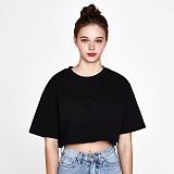 [리플라이퍼키]RE FLY PERKY [WOMEN]백사이드 절개자수 포인트 오버핏 크롭 티셔츠 (Black) 반팔티