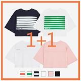 [리플라이퍼키]RE FLY PERKY [1+1/WOMEN]오버핏 크롭 티셔츠 (6color) 반팔티