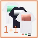 [리플라이퍼키]RE FLY PERKY [1+1/UNISEX]백사이드 스트라이프 프린팅 오버핏 스탠다드 티셔츠 (3color) 반팔티